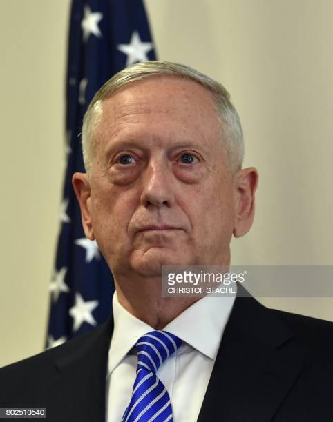 US Secretary of Defense James N Mattis looks on during the joint press statement with German Minister for Defense Ursula von der Leyen prior to a...