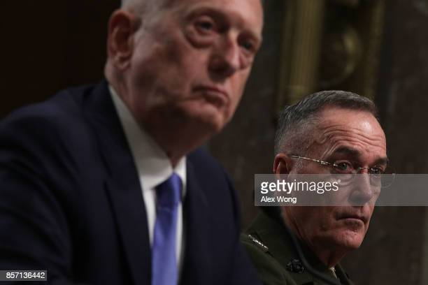 S Secretary of Defense Jim Mattis and Chairman of the Joint Chiefs of Staff General Joseph Dunford testify during a hearing before Senate Armed...