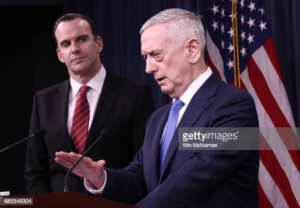 S Secretary of Defense Jim Mattis and Special Presidential Envoy for the Global Coalition to Counter ISIS Brett McGurk answer questions during a...