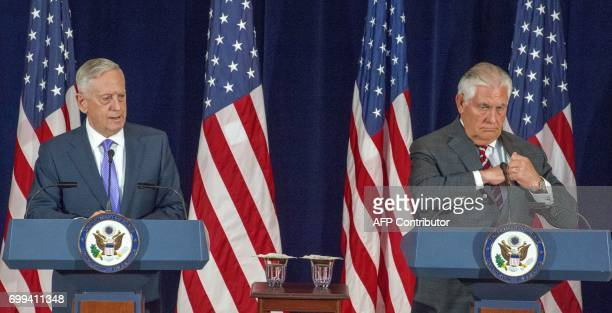 US Secretary of Defense Jim Mattis and US Secretary of State Rex Tillerson conduct a two question press conference after meeting with Chinese State...