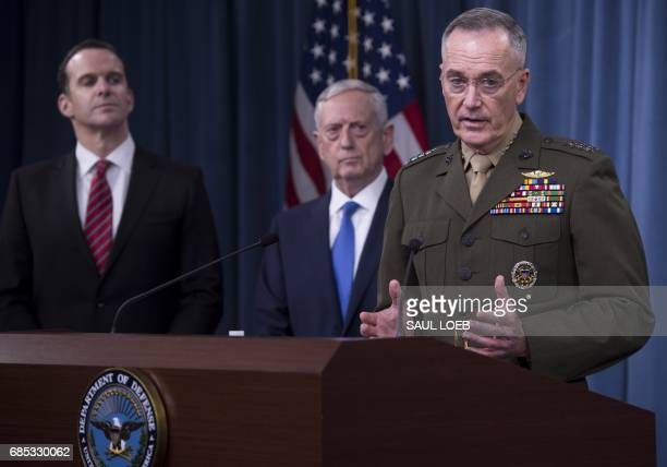US Secretary of Defense Jim Mattis Chairman of the Joint Chiefs of Staff Marine General Joseph Dunford and Brett McGurk Special Presidential Envoy...