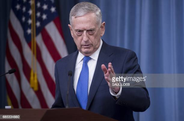 US Secretary of Defense Jim Mattis holds a press briefing at the Pentagon in Washington DC May 19 2017 Pentagon chief Jim Mattis stressed Thursday...