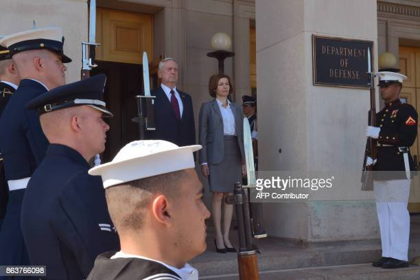 US Secretary of Defense Jim Mattis hosts an enhanced honor cordon welcoming Florence Parly minister for the Armed Forces France to the Pentagon on...