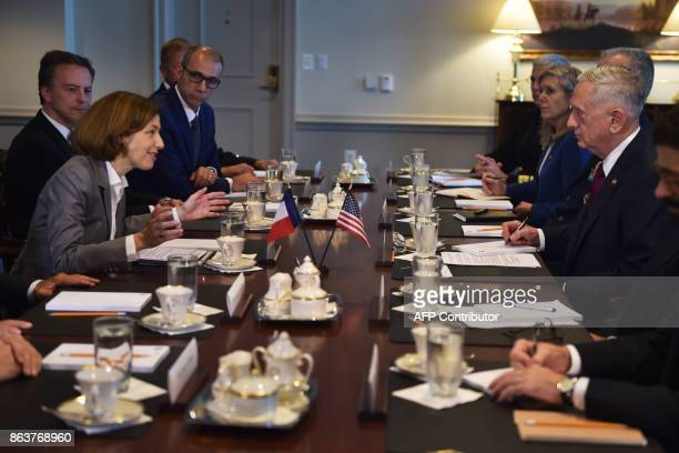 US Secretary of Defense Jim Mattis hosts Florence Parly French Defense ministerce to the Pentagon for a meeting on October 20 2017 in Washington DC /...