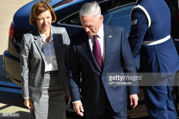 US Secretary of Defense Jim Mattis hosts Florence Parly French Defense minister at the Pentagon for a meeting on October 20 2017 in Washington DC /...