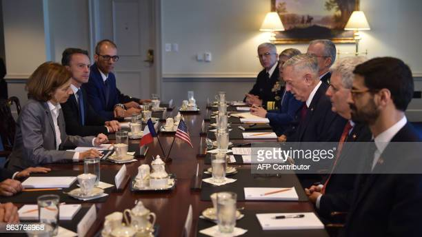 US Secretary of Defense Jim Mattis hosts Florence Parly minister for the Armed Forces France to the Pentagon for a meeting on October 20 2017 in...