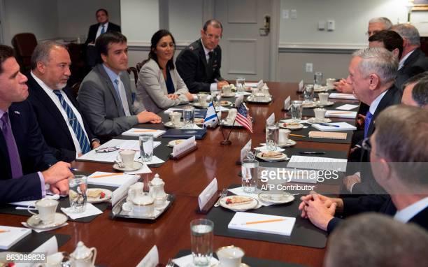 US Secretary of Defense Jim Mattis meets with Israeli Minister of Defense Avigdor Lieberman at the Pentagon in Arlington Virginia on October 19 2017...