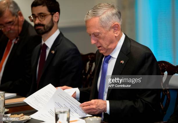 US Secretary of Defense Jim Mattis takes part in a meeting with his Israeli counterpart at the Pentagon in Arlington Virginia on October 19 2017 /...