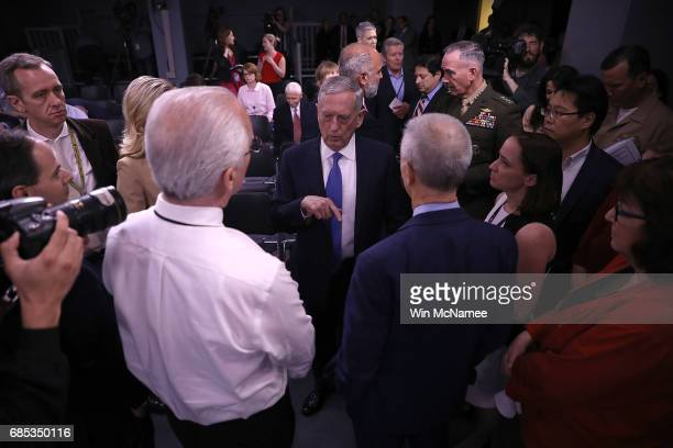 S Secretary of Defense Jim Mattis talks with reporters before the start of a briefing at the Pentagon May 19 2017 in Arlington Virginia Mattis...