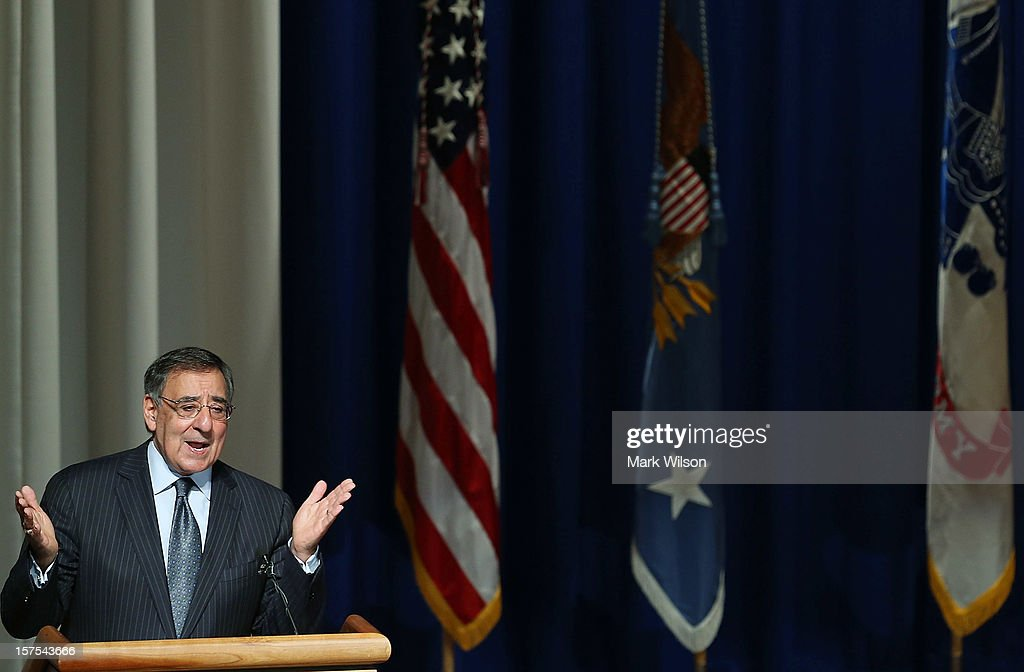 U.S. Secretary of Defense Leon E. Panetta speaks at the Walter Reed National Military Medical Center, on December 4, 2012 in Bethesda, Maryland. Secretary Panetta spoke to medical center staff before presenting them with a gift.