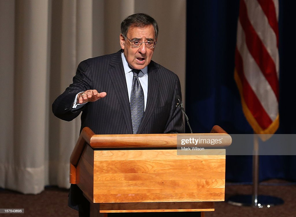 Secretary of Defense Leon E. Panetta speaks at the Walter Reed National Military Medical Center, on December 4, 2012 in Bethesda, Maryland. Secretary Panetta spoke to medical center staff before presenting them with a gift.