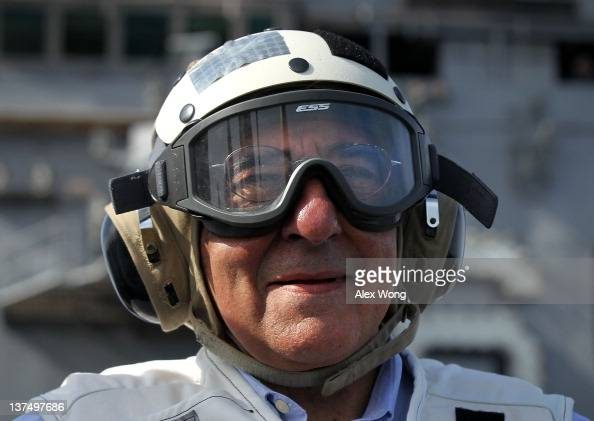 S Secretary of Defense Leon E Panetta watches day flight operations from the flight deck of the aircraft carrier USS Enterprise January 21 2012 off...