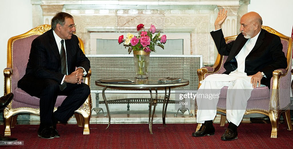 U.S. Secretary of Defense Leon Panetta and Afghanistan President <a gi-track='captionPersonalityLinkClicked' href=/galleries/search?phrase=Hamid+Karzai&family=editorial&specificpeople=121540 ng-click='$event.stopPropagation()'>Hamid Karzai</a> meet shortly before having dinner together inside the President's palace July 9, 2011 in Kabul, Afghanistan. During a surprise visit to Afghanistan and his first as Defense Secretary, Panetta declared that the United States is 'within reach' of 'strategically defeating' Al Qaeda as a terrorist threat.