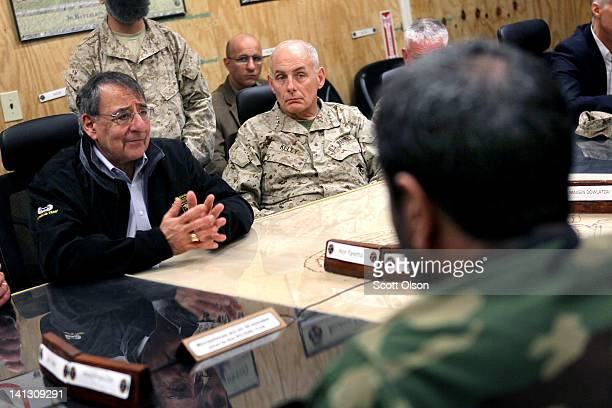 S Secretary of Defense Leon Panetta and Lt Gen John Kelly meet with provincial leaders shortly after arriving March 14 2012 at Camp Leatherneck...