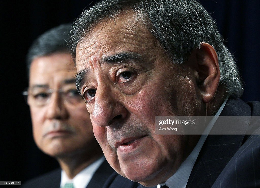 U.S. Secretary of Defense Leon Panetta (R) and Secretary of Veterans Affairs <a gi-track='captionPersonalityLinkClicked' href=/galleries/search?phrase=Eric+Shinseki&family=editorial&specificpeople=2597806 ng-click='$event.stopPropagation()'>Eric Shinseki</a> speak to members of the media during a joint news conference December 6, 2012 at the Veterans Affairs Department in Washington, DC. Panetta and Shinseki made an announcement to accelerate deployment of an integrated electronic health records to serve both departments.