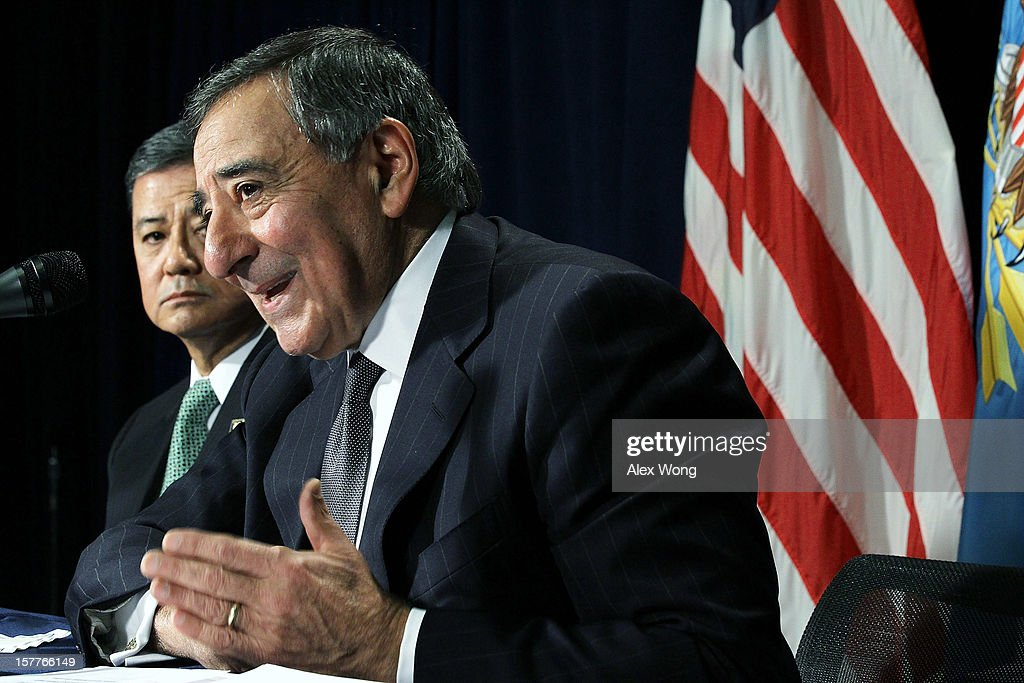 U.S. Secretary of Defense Leon Panetta (R) and Secretary of Veterans Affairs <a gi-track='captionPersonalityLinkClicked' href=/galleries/search?phrase=Eric+Shinseki&family=editorial&specificpeople=2597806 ng-click='$event.stopPropagation()'>Eric Shinseki</a> (L) speak to members of the media during a joint news conference December 6, 2012 at the Veterans Affairs Department in Washington, DC. Panetta and Shinseki made an announcement to accelerate deployment of an integrated electronic health record to serve both departments..