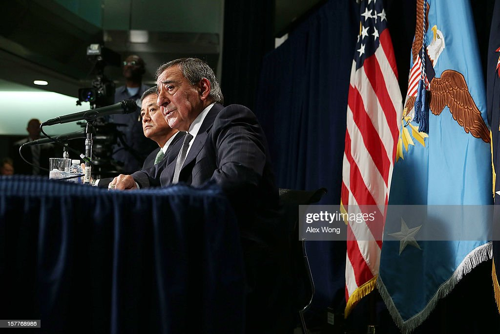 U.S. Secretary of Defense Leon Panetta (R) and Secretary of Veterans Affairs Eric Shinseki (L) speak to members of the media during a joint news conference December 6, 2012 at the Veterans Affairs Department in Washington, DC. Panetta and Shinseki made an announcement to accelerate deployment of an integrated electronic health record to serve both departments..