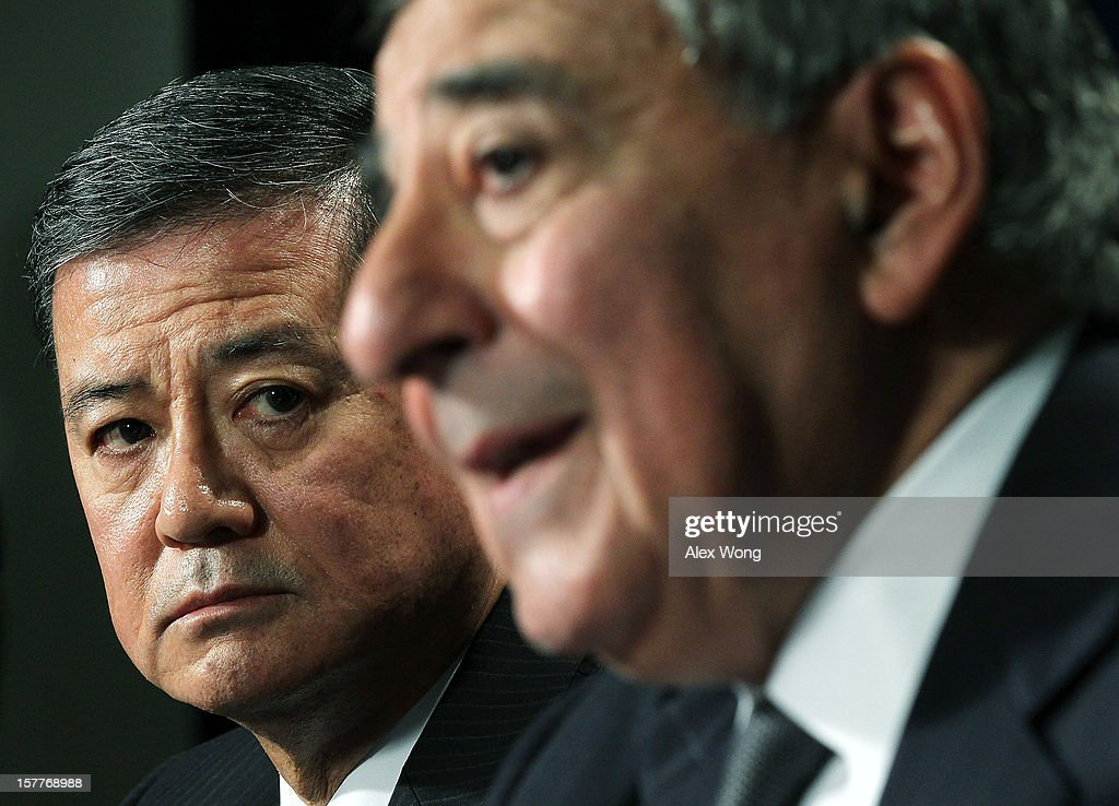 S Secretary of Defense Leon Panetta and Secretary of Veterans Affairs Eric Shinseki speak to members of the media during a joint news conference...