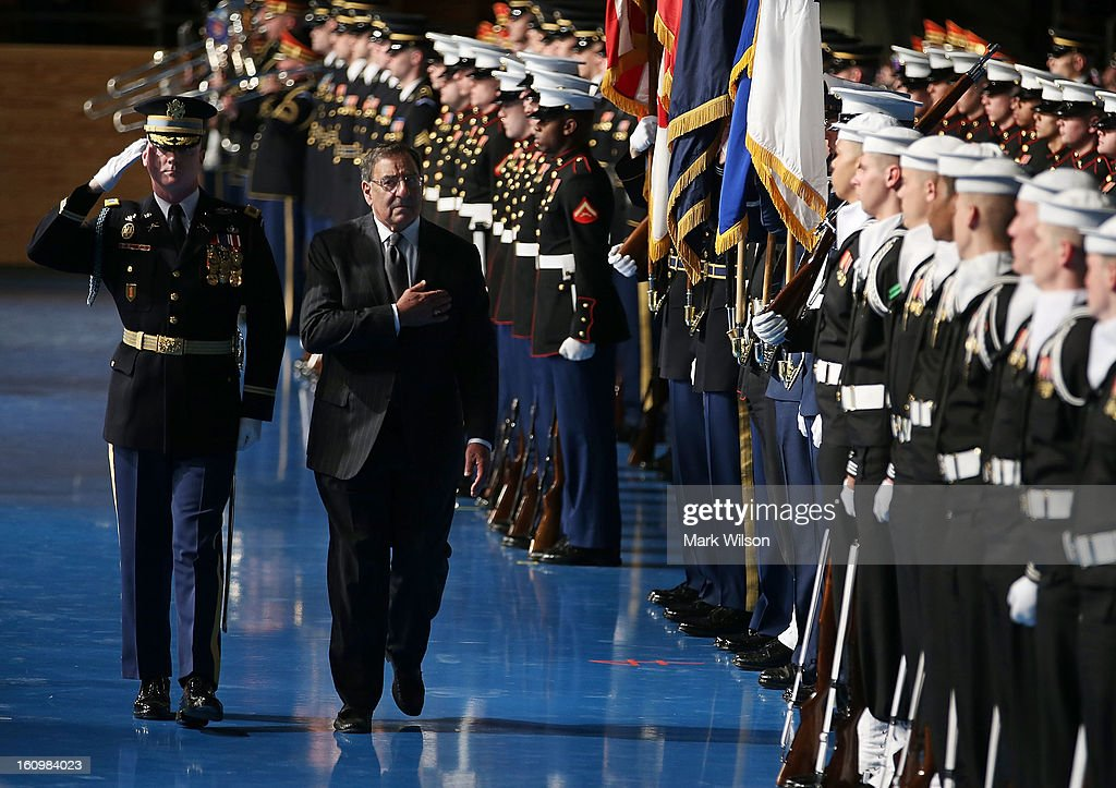 Secretary of Defense Leon Panetta (2nd L) and U.S. Army Col. James Markert (L) Commander 3rd. U.S. Infantry Regiment, inspect the troops during a Armed Service farewell ceremony at Joint Base Ft. Myer, on February 8, 2013 in Arlington, Virginia. If confirmed by the U.S. Senate former U.S. Senator Chuck Hagel (R-NE) will replace Panetta as Defense Secretary.