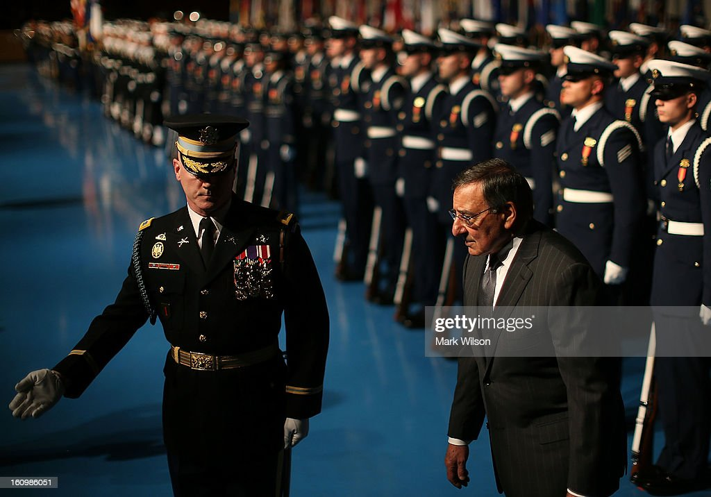 Secretary of Defense Leon Panetta (R) and U.S. Army Col. James Markert (L), Commander 3rd. U.S. Infantry Regiment, inspect the troops during a Armed Service farewell ceremony for Sec. Panetta at Joint Base Ft. Myer, on February 8, 2013 in Arlington, Virginia. If confirmed by the U.S. Senate former U.S. Senator Chuck Hagel (R-NE),will replace Mr. Panetta as Defense Secretary.