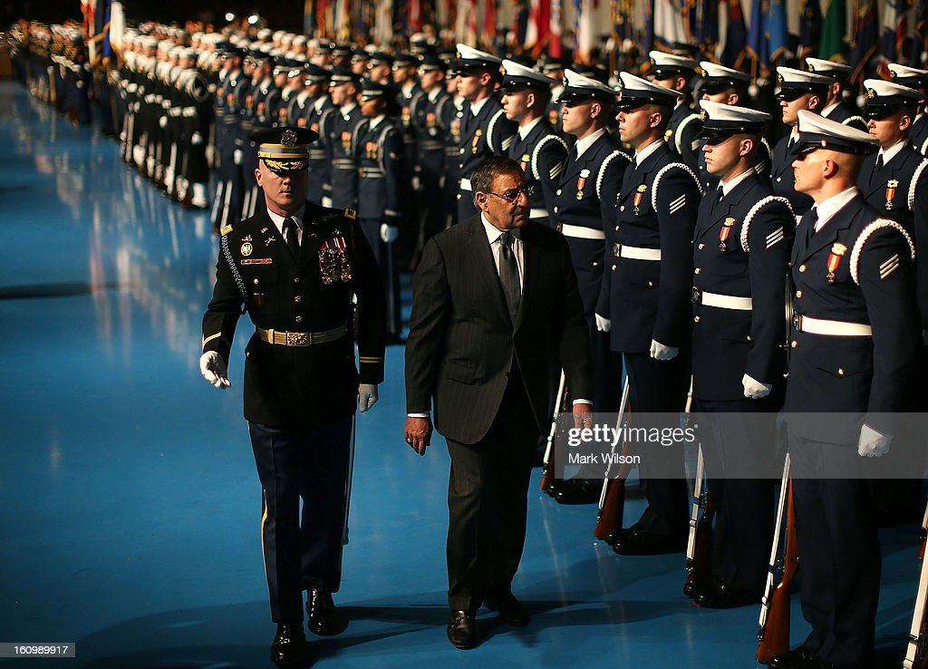 Secretary of Defense Leon Panetta (R) and U.S. Army Col. James Markert (L), Commander 3rd. U.S. Infantry Regiment, inspect the troops during a Armed Service farewell ceremony for Sec. Panetta at Joint Base Ft. Myer, on February 8, 2013 in Arlington, Virginia. If confirmed by the U.S. Senate former U.S. Senator Chuck Hagel (R-NE) will replace Panetta as Defense Secretary.