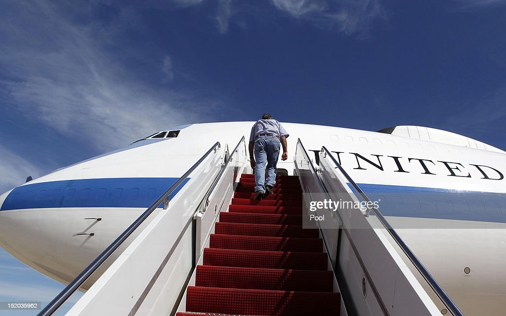 U.S. Secretary of Defense Leon Panetta boards his aircraft September 15, 2012 at Joint Base Andrews, Maryland. Panetta is heading for an official visit to Japan, China and New Zealand,