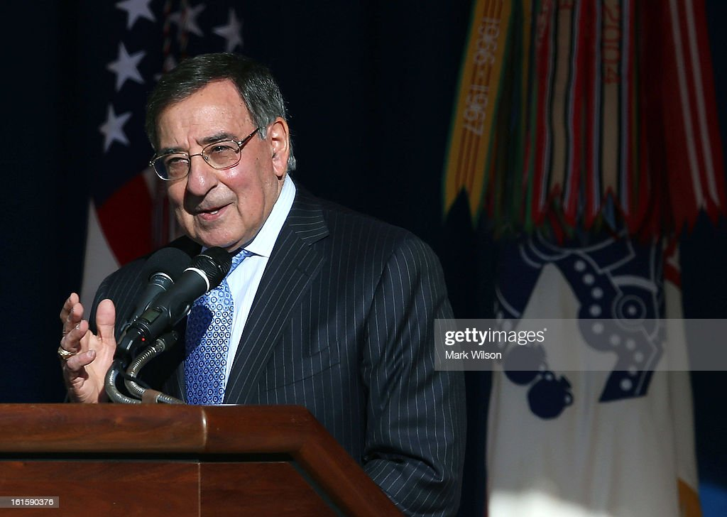 U.S. Secretary of Defense Leon Panetta delivers his farewell address to Pentagon employees on February 12, 2013 in Arlington, Virginia. Secretary Panetta said he will stay on the job until the U.S. Senate confirms President Obama's nominee, former U.S. Sen. Chuck Hagel (R-NE).