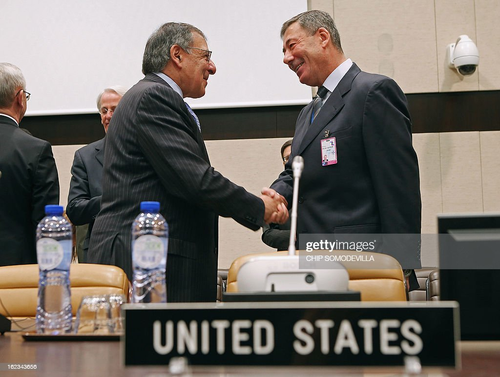 US Secretary of Defense Leon Panetta (L) greets Jordan Ambassador to Belgium Montaser Oklah AlZoubi before a NATO Defense Ministers meeting with non-NATO International Security Assistance Force (ISAF) contributing nations at NATO headquarters on February 22, 2013 in Brussels, Belgium. Panetta is attending meetings and holding bilateral meetings with other NATO defense officials.