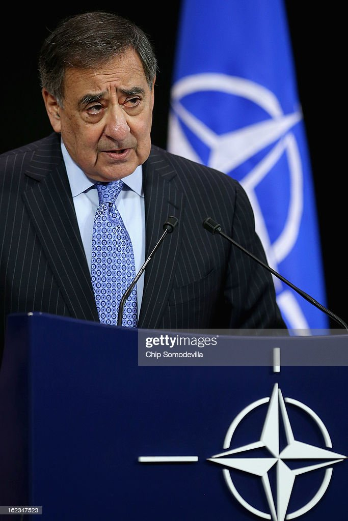 U.S. Secretary of Defense Leon Panetta holds a news conference at the end of the North Atlantic Treaty Organization (NATO) Defense Ministers Meetings at NATO headquarters February 22, 2013 in Brussels, Belgium. Panetta is attended meetings and holding bilateral meetings with other NATO defense officials.