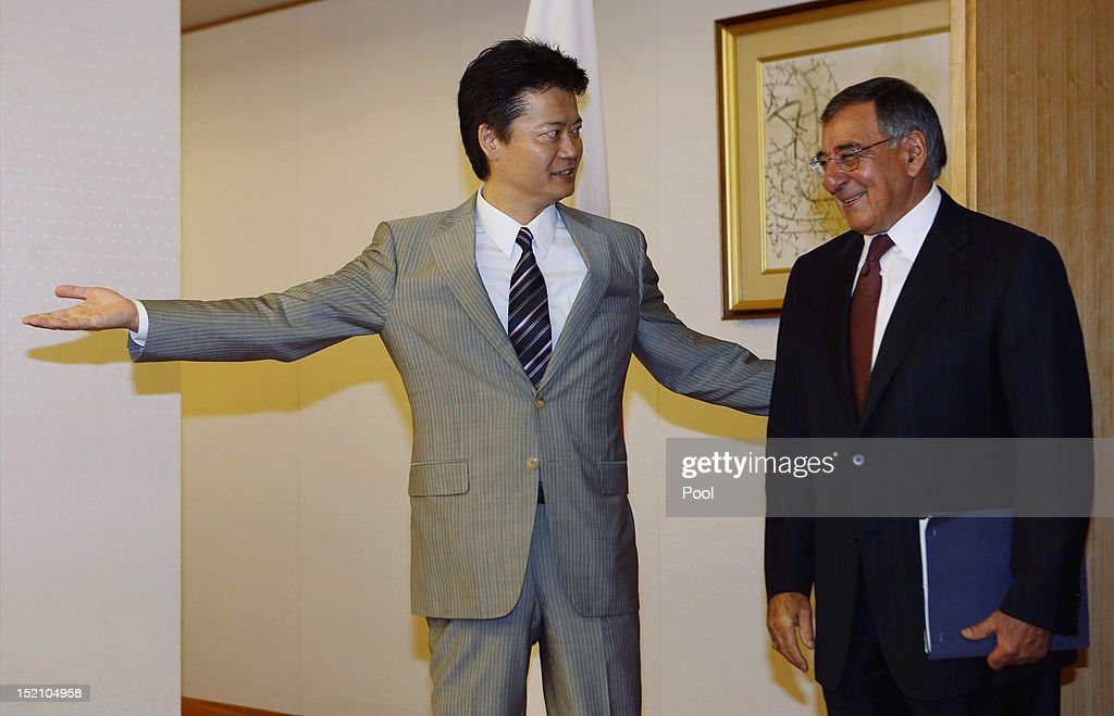 U.S. Secretary of Defense Leon Panetta (R) meets with Japan's Minister of Foreign Affairs <a gi-track='captionPersonalityLinkClicked' href=/galleries/search?phrase=Koichiro+Gemba&family=editorial&specificpeople=7046304 ng-click='$event.stopPropagation()'>Koichiro Gemba</a> at the Ministry of Foreign Affairs on September 17, 2012 in Tokyo, Japan. Panetta is on the first official stop of a three nation tour to Japan, China and New Zealand.