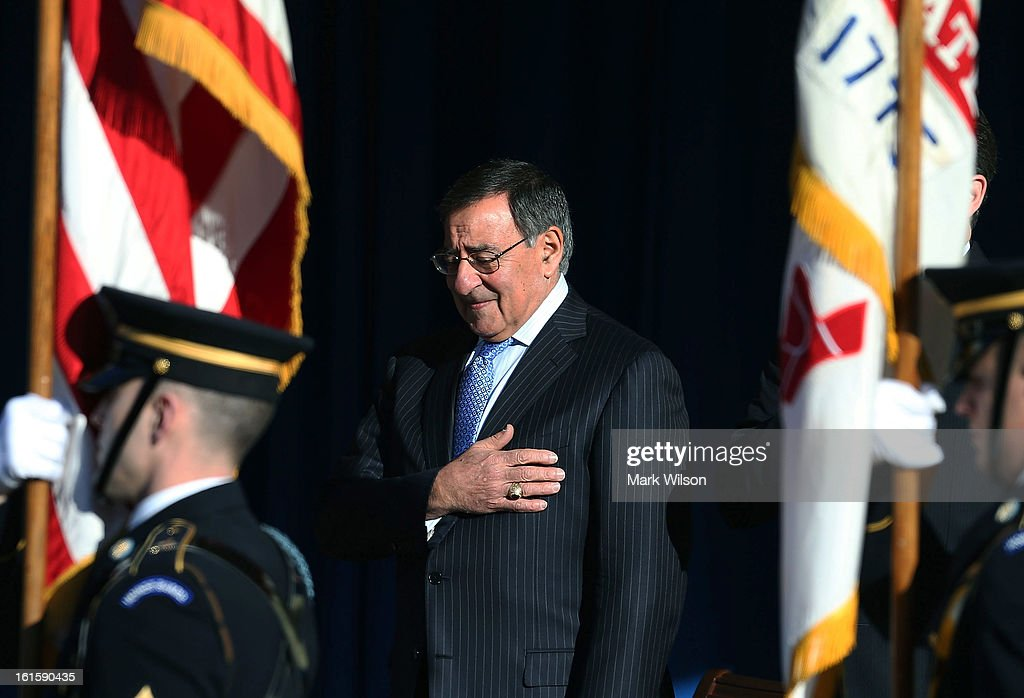 U.S. Secretary of Defense Leon Panetta prepares to deliver his farewell address to Pentagon employees on February 12, 2013 in Arlington, Virginia. Secretary Panetta said he will stay on the job until the U.S. Senate confirms President Obama's nominee, former U.S. Sen. Chuck Hagel (R-NE).