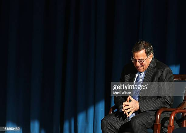 S Secretary of Defense Leon Panetta prepares to deliver his farewell address to Pentagon employees on February 12 2013 in Arlington Virginia...