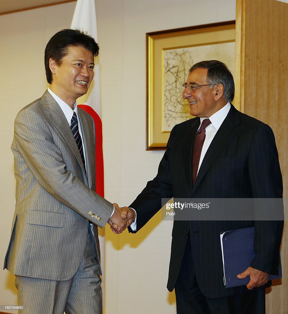 U.S. Secretary of Defense Leon Panetta (R) shakes hands with Japan's Minister of Foreign Affairs <a gi-track='captionPersonalityLinkClicked' href=/galleries/search?phrase=Koichiro+Gemba&family=editorial&specificpeople=7046304 ng-click='$event.stopPropagation()'>Koichiro Gemba</a> at the Ministry of Foreign Affairs on September 17, 2012 in Tokyo, Japan. Panetta is on the first official stop of a three nation tour to Japan, China and New Zealand.