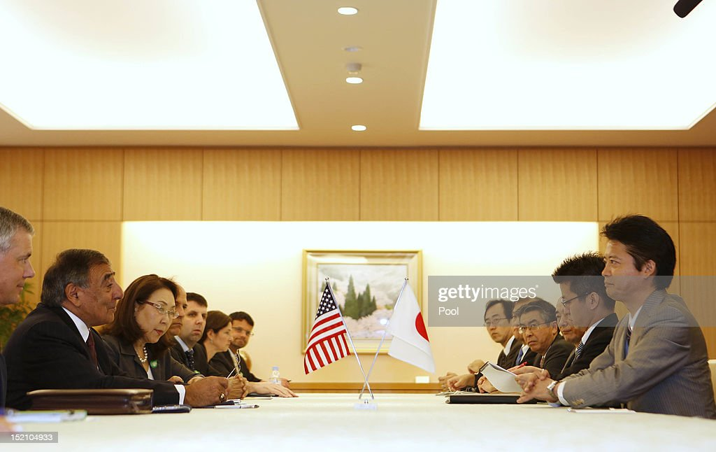 U.S. Secretary of Defense Leon Panetta (2nd L) sits across from Japan's Minister of Foreign Affairs <a gi-track='captionPersonalityLinkClicked' href=/galleries/search?phrase=Koichiro+Gemba&family=editorial&specificpeople=7046304 ng-click='$event.stopPropagation()'>Koichiro Gemba</a> (R) at the Ministry of Foreign Affairs on September 17, 2012 in Tokyo, Japan. Panetta is on the first official stop of a three nation tour to Japan, China and New Zealand.