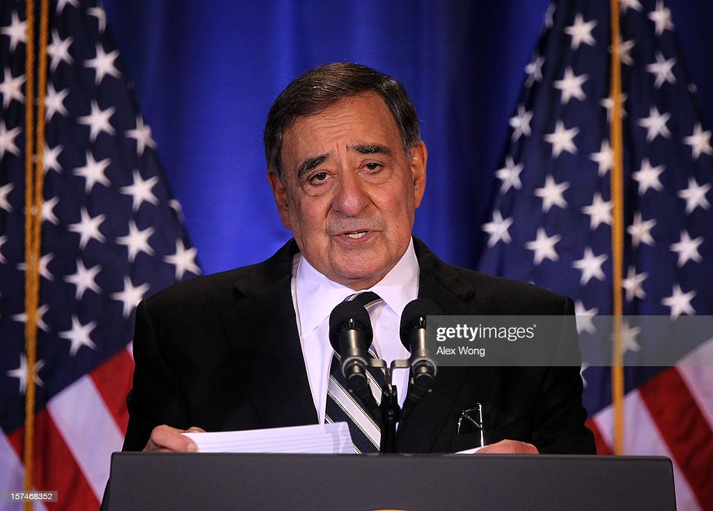 U.S. Secretary of Defense Leon Panetta speaks as he introduces President Barack Obama during the Nunn-Lugar Cooperative Threat Reduction (CTR) symposium December 3, 2012 at the National Defense University in Washington, DC. Obama spoke on the 20th anniversary of the CTR program which was established to secure and dismantle weapons of mass destruction and their associated infrastructure in former Soviet Union states.' Obama also warned President Assad of Syria not to use chemical weapons against his people.