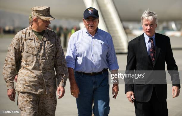 Secretary of Defense Leon Panetta speaks with Commander of International Security Assistance Force General John Allen and US Ambassador to...