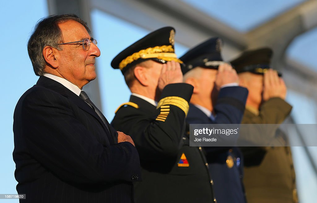 U.S. Secretary of Defense Leon Panetta stands with U.S. Army General <a gi-track='captionPersonalityLinkClicked' href=/galleries/search?phrase=Martin+Dempsey&family=editorial&specificpeople=2116621 ng-click='$event.stopPropagation()'>Martin Dempsey</a>, U.S. Air Force General Douglas Fraser and U.S. Marine General John F. Kelly during a change of command ceremony at United States Southern Command on November 19, 2012 in Doral, Florida. U.S. Marine Gen. John Kelly takes over the command from U.S. Air Force Gen. Douglas Fraser.