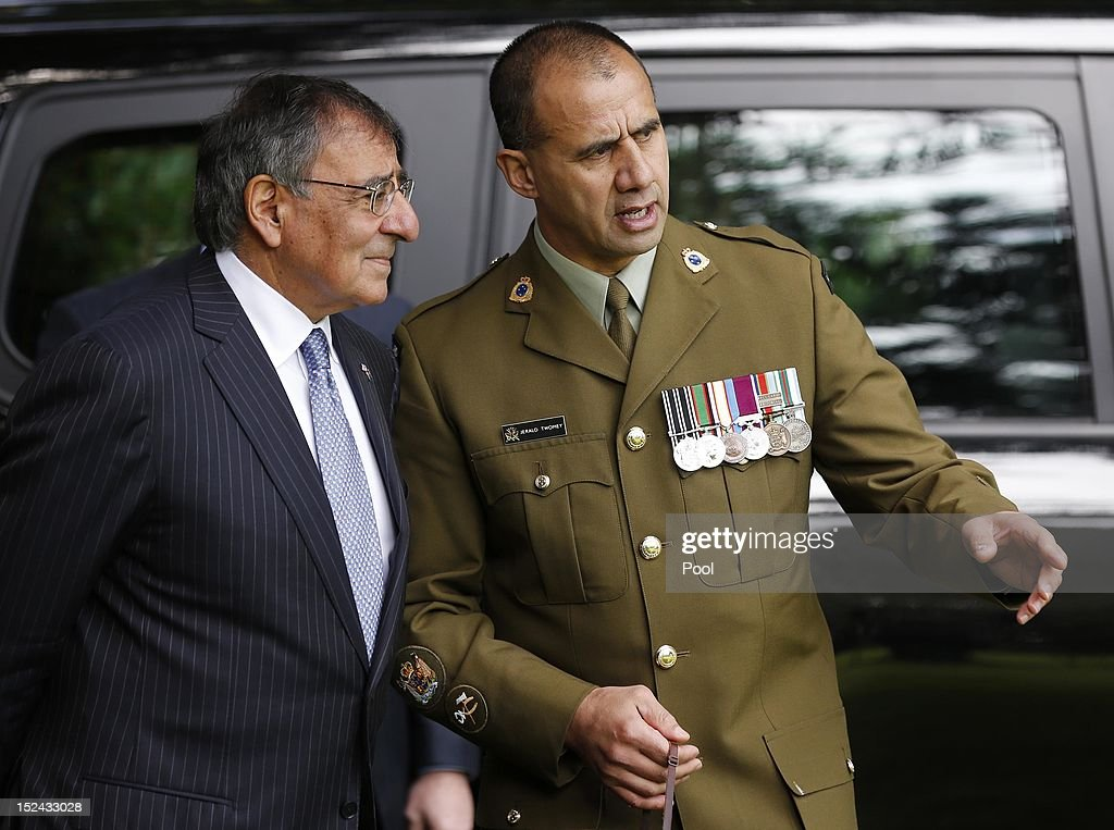 U.S. Secretary of Defense Leon Panetta (L) talks to New Zealand Maori Cultural Advisor WOI Jerald Twomey during an official welcoming cermony at the Government House on September 21, 2012 in Auckland, New Zealand. Panetta is on the last official stop in New Zealand during a three-nation tour to Japan, China and New Zealand.