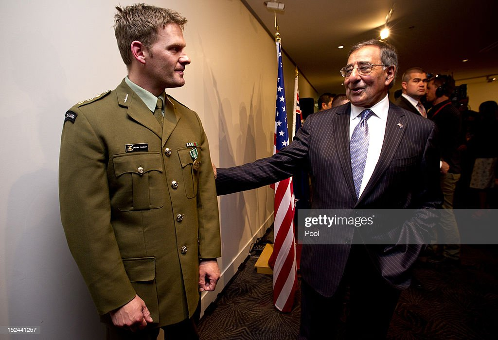 U.S. Secretary of Defense Leon Panetta talks with Capt Jason Tinsley, NZ Army during a ceremony at the Auckland War Memorial Museum on September 21, 2012 in Auckland, New Zealand. Panetta is on the last official stop in New Zealand during a three-nation tour to Japan, China and New Zealand.