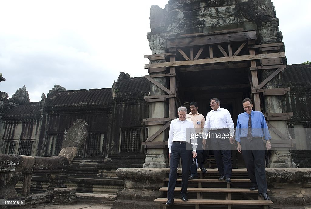 US Secretary of Defense Leon Panetta (C) walks alongside US Ambassador to Cambodia William Todd (R) and US Ambassador to ASEAN David Carden (L) during a visit to Angkor Wat following the ASEAN Defense Ministers Meeting Retreat on November 16, 2012 near Siem Reap, Cambodia. Panetta is attending a meeting retreat of 10 southeast Asian defense ministers ahead of a visit by President Barak Obama next week.