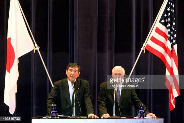 US Secretary of Defense Robert Gates and Japanese Defense Minister Shigeru Ishiba attend a joint press conference at Defense Ministry on November 8...