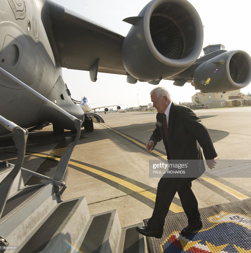 US Secretary of Defense Robert Gates boards a USAF C-17 cargo aircraft on September 15, 2008, at Incirlik Air Force Base in Turkey. Gates made a surprise visit to Baghdad on September 15, 2008, saying the new US commander in Iraq will inherit a 'mission in transition' from General David Petraeus as the US force shrinks in size and turns over more of the country to Iraqis.