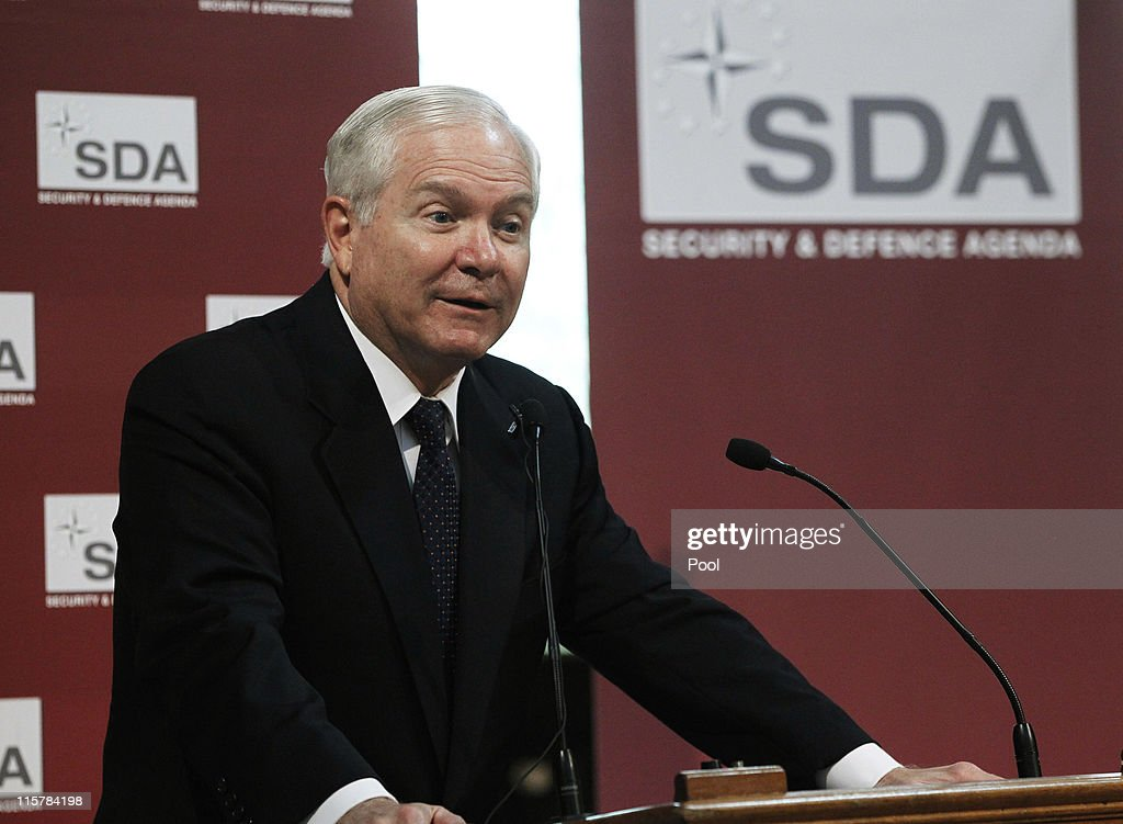U.S. Secretary of Defense Robert Gates delivers a speech 'Reflections on the status and future of the transatlantic alliance' on June 10, 2011 in Brussels, Belgium. In a parting blow to European members of NATO, Gates said in the speech that the alliance risks 'military irrelevance' unless spending is increased by members other than the United States. Gates said there is a risk that US Congress may question why the US makes up 75 per cent of NATO funding.