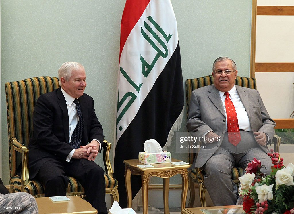 U.S. Secretary of Defense Robert Gates (L) meets with Iraqi President <a gi-track='captionPersonalityLinkClicked' href=/galleries/search?phrase=Jalal+Talabani&family=editorial&specificpeople=213582 ng-click='$event.stopPropagation()'>Jalal Talabani</a> at the Presidential Council Office, Diwan Building in the Green Zone December 10, 2009 in Baghdad, Iraq. Secretary Gates stopped in Iraq following a two day trip to Afghanistan one week after U.S. President Barack Obama announced that he will send an additional 30,000 troops to Afghanistan.