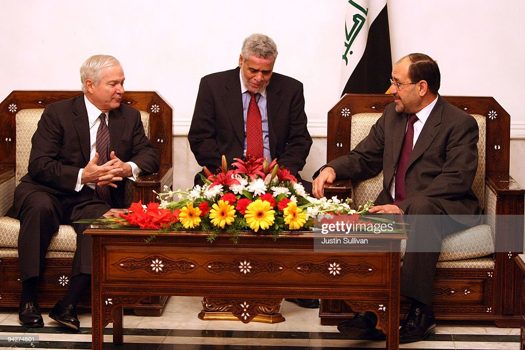 U.S. Secretary of Defense Robert Gates (L) meets with Iraqi Prime Minister Nouri Al-Maliki (R) at his residence in the Green Zone December 11, 2009 in Baghdad, Iraq. Secretary Gates stopped in Iraq following a two day trip to Afghanistan one week after U.S. President Barack Obama announced that he will send an additional 30,000 troops to Afghanistan.