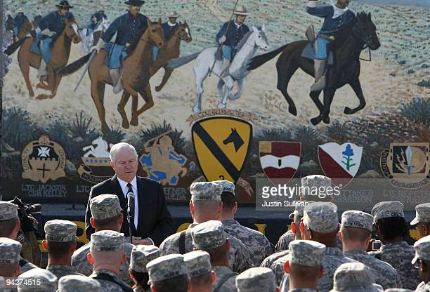 S Secretary of Defense Robert Gates speaks to soldiers at FOB Warrior December 11 2009 in Kirkuk Iraq Secretary Gates stopped in Iraq following a two...