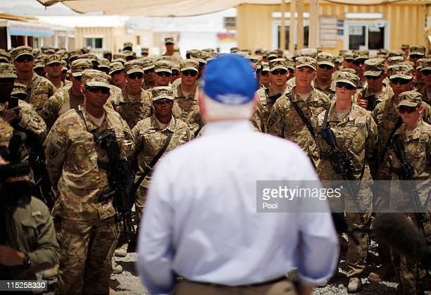 S Secretary of Defense Robert Gates speaks to troops at Forward Operating Base Walton June 5 2011 in Kandahar province Afghanistan The gradual...