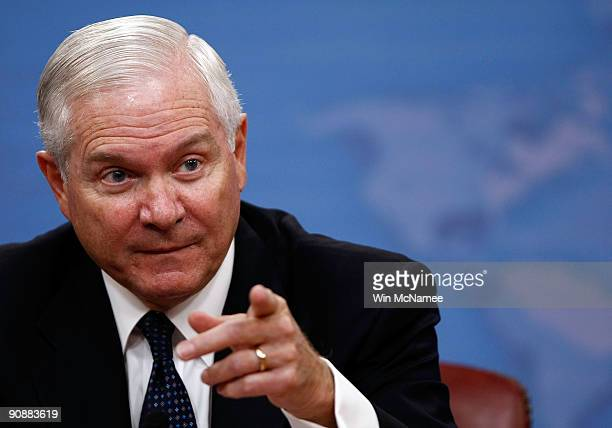 S Secretary of Defense Robert M Gates answers a question during a press briefing at the Pentagon September 17 2009 in Arlington Virginia Gates spoke...