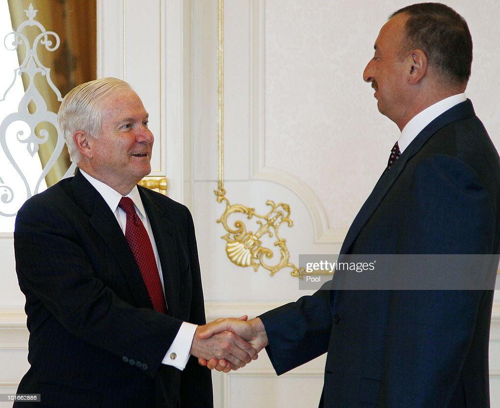 U.S. Secretary of Defense Robert M. Gates (L) is greeted by Azerbaijan's President Ilham Aliyev at Zagulba June 6, 2010 in Baku, Azerbaijan. Gates left Singapore earlier today after participating in the Shangri-La Dialogue's Asia Security Summit, which ran from June 4 to 6, 2010.