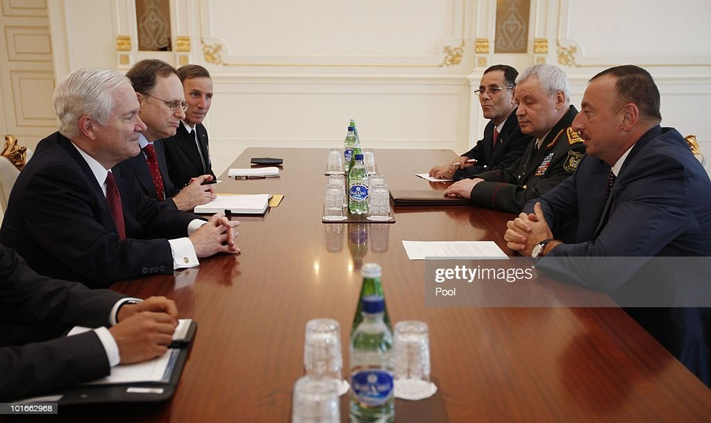 U.S. Secretary of Defense Robert M. Gates (L) meets with Azerbaijan's President Ilham Aliyev (R) at Zagulba June 6, 2010 in Baku, Azerbaijan. On the table in front of Aliyev is a letter from President Barack Obama. Gates left Singapore earlier today after participating in the Shangri-La Dialogue's Asia Security Summit, which ran from June 4 to 6, 2010.